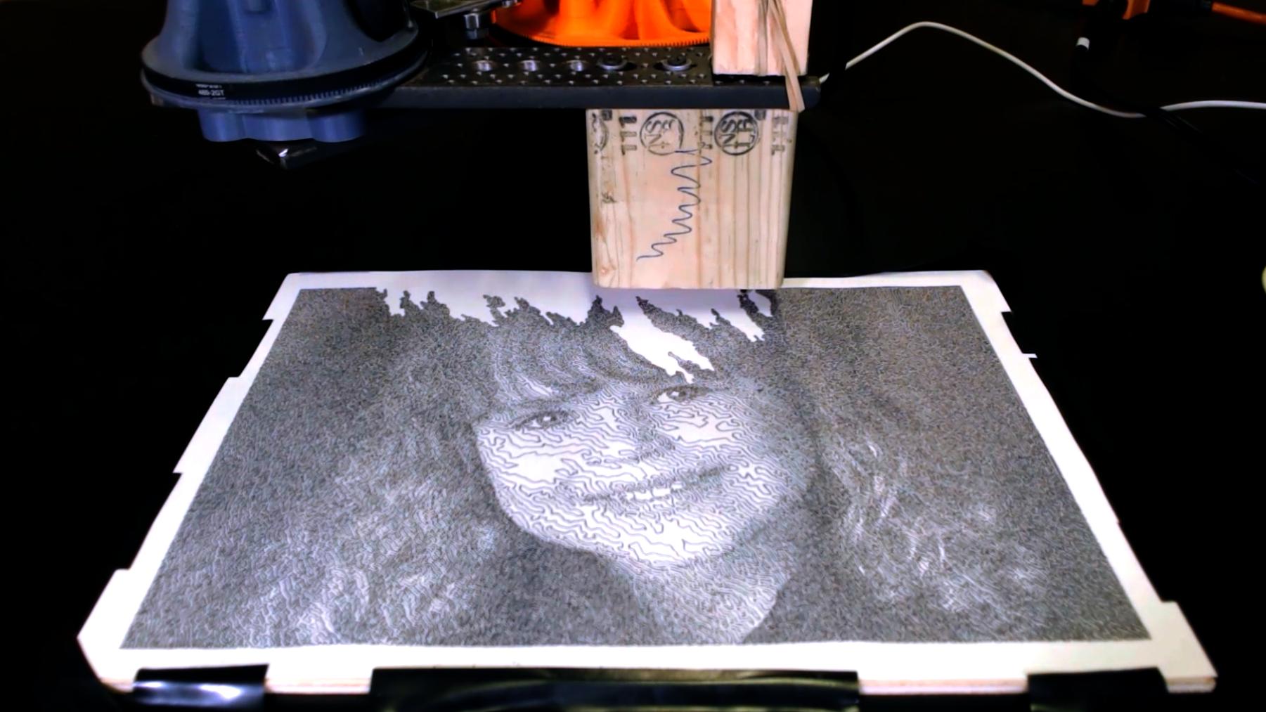 TSP Art drawn by evezor robotic arm